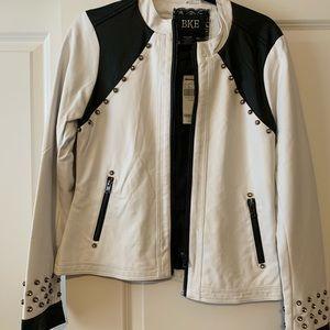 BKE white and black leather jacket